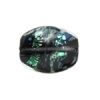 Lamp Bead Falling Leaf 2Pc 21x18mm Onyx with specks